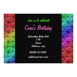虹のグランジなハーフトーンのパーティークラブ招待状 カード
