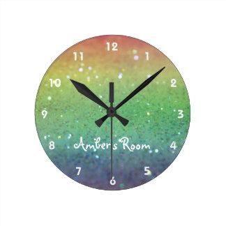 虹のグリッターの子供の寝室 ラウンド壁時計