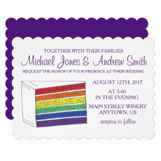 虹のケーキカスタムなLGBTのゲイの結婚式招待状 カード