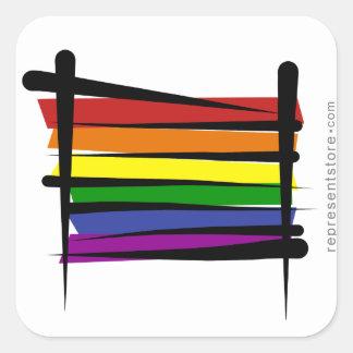 虹のゲイプライドのブラシの旗 スクエアシール