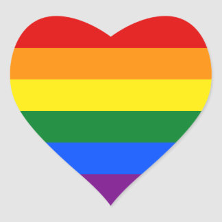 虹のゲイプライドの旗%PIPE%のステッカー ハートシール