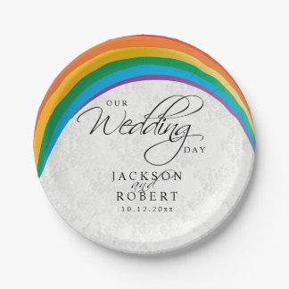 虹のゲイ-私達の婚礼の日 ペーパープレート