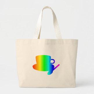 虹のコップ、受皿、スプーン ラージトートバッグ