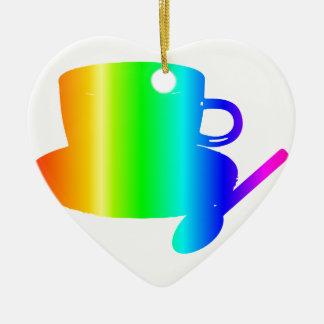 虹のコップ、受皿、スプーン 陶器製ハート型オーナメント