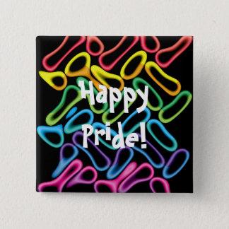虹のゴムRings1 LGBTゲイプライドボタン 5.1cm 正方形バッジ