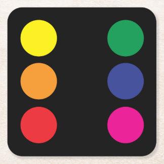 虹のサイコロのコースター スクエアペーパーコースター