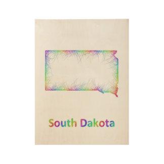 虹のサウスダコタの地図 ウッドポスター