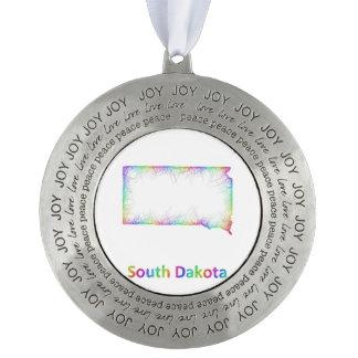 虹のサウスダコタの地図 オーナメント
