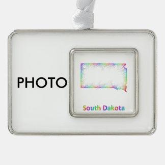 虹のサウスダコタの地図 シルバープレートフレームオーナメント