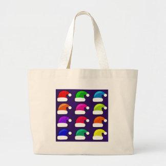 虹のサンタの帽子 ラージトートバッグ