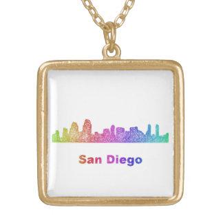 虹のサンディエゴのスカイライン ゴールドプレートネックレス