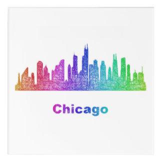 虹のシカゴのスカイライン アクリルウォールアート