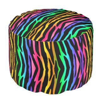 虹のシマウマ動物パターンプリントの10代のな女の子 プーフ