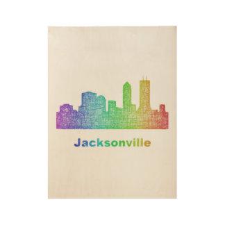 虹のジャクソンビルのスカイライン ウッドポスター