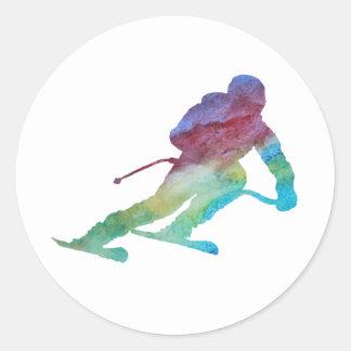 虹のスキーヤー ラウンドシール