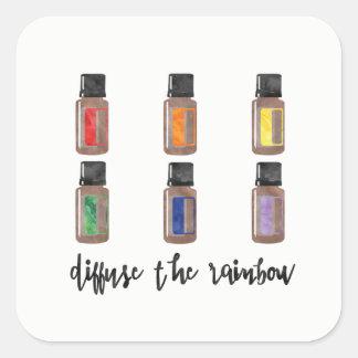 虹のステッカー-精油--を拡散させて下さい スクエアシール