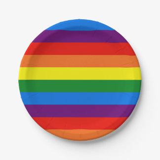 虹のストライプなゲイLGBTのパーティのカスタムな紙皿 ペーパープレート