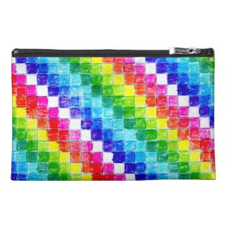 虹のストライプな方眼紙の正方形 トラベルアクセサリーバッグ