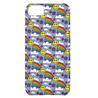 虹のスマイリーフェイスおよび花のヒッピーパターン iPhone5Cケース