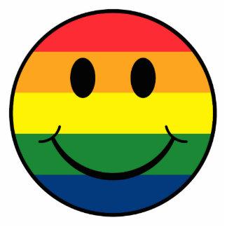 虹のスマイリー 写真彫刻オーナメント