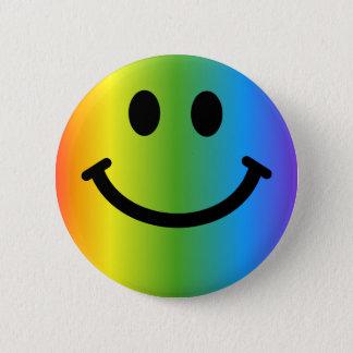 虹のスマイリー 5.7CM 丸型バッジ