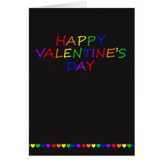虹のタイポグラフィおよびハートのゲイのバレンタイン グリーティングカード