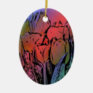 虹のチューリップ 陶器製卵型オーナメント