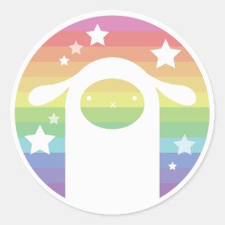 虹のティーカップのアルパカ ラウンドシール