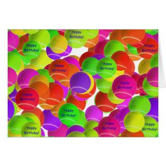 虹のテニス・ボールの誕生日の願い カード