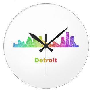 虹のデトロイトスカイライン ラージ壁時計