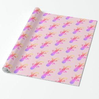 虹のトカゲのヤモリの切り貼り芸術のイラストレーション ラッピングペーパー