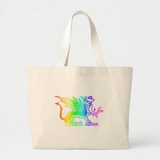 虹のドラゴン ラージトートバッグ