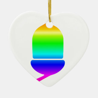 虹のドングリ 陶器製ハート型オーナメント