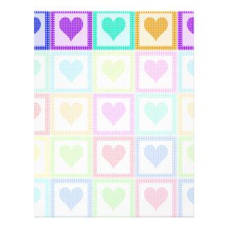 虹のハートのキルトパターン レターヘッド