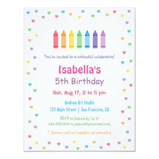 虹のハートのクレヨンの芸術の技術の誕生会 カード