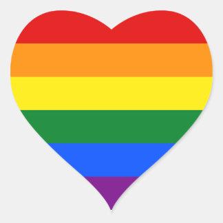 虹のハートのステッカー ハートシール