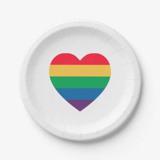 虹のハートのプライドの紙皿 ペーパープレート