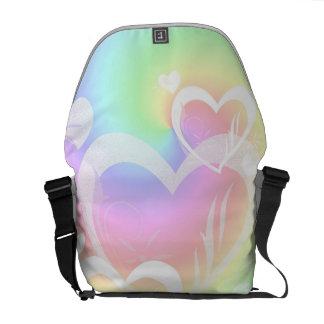 虹のハートのメッセンジャーBagf メッセンジャーバッグ