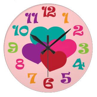 虹のハートの女の子の柱時計 ラージ壁時計