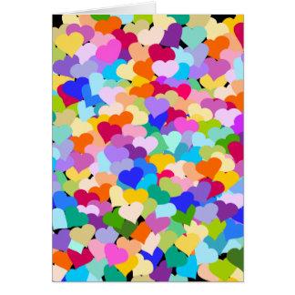 虹のハートの紙吹雪 カード