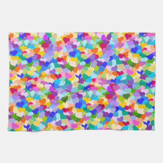 虹のハートの紙吹雪 キッチンタオル