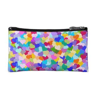 虹のハートの紙吹雪 コスメティックバッグ