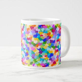 虹のハートの紙吹雪 ジャンボコーヒーマグカップ