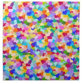 虹のハートの紙吹雪 ナプキンクロス