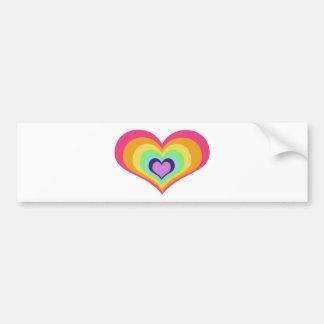 虹のハートの芸術 バンパーステッカー