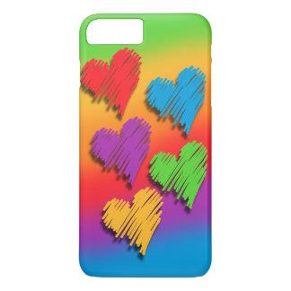 虹のハートの電話箱 iPhone 8 PLUS/7 PLUSケース