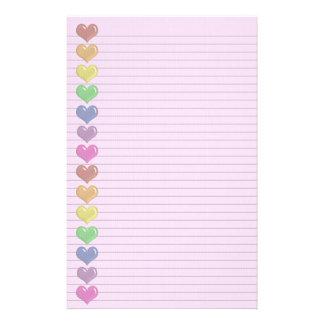 虹のハートは任意ライン文房具を縁どります 便箋