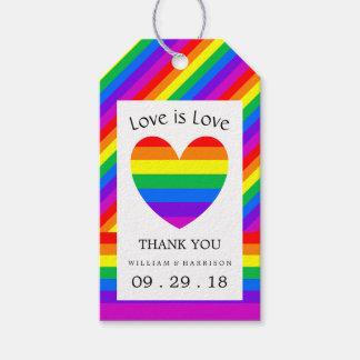 虹のハート愛は愛結婚式です ギフトタグパック