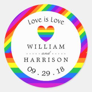 虹のハート愛は愛結婚式です ラウンドシール