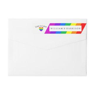 虹のハート愛は愛結婚式です ラップアラウンド返信用宛名ラベル